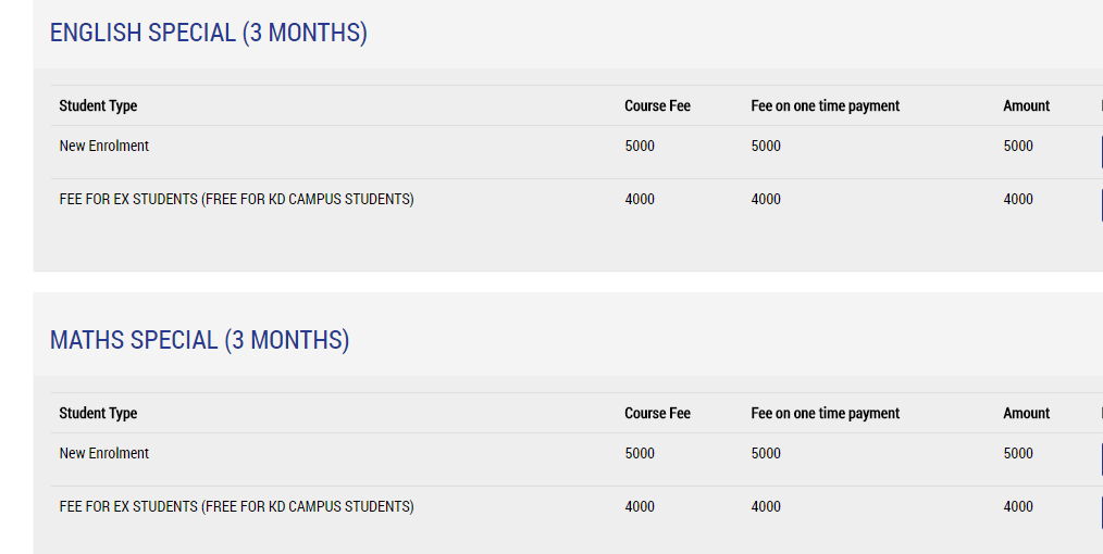 ENGLISH SPECIAL (3 MONTHS) & MATHS SPECIAL (3 MONTHS) Fees Details